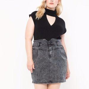 NWT Eloquii High Waisted Acid Wash Denim Skirt 16